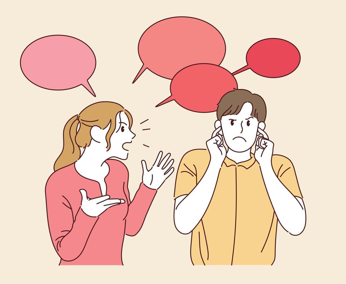 una mujer habla y el hombre se tapa los oídos. ilustraciones de diseño de vectores de estilo dibujado a mano.