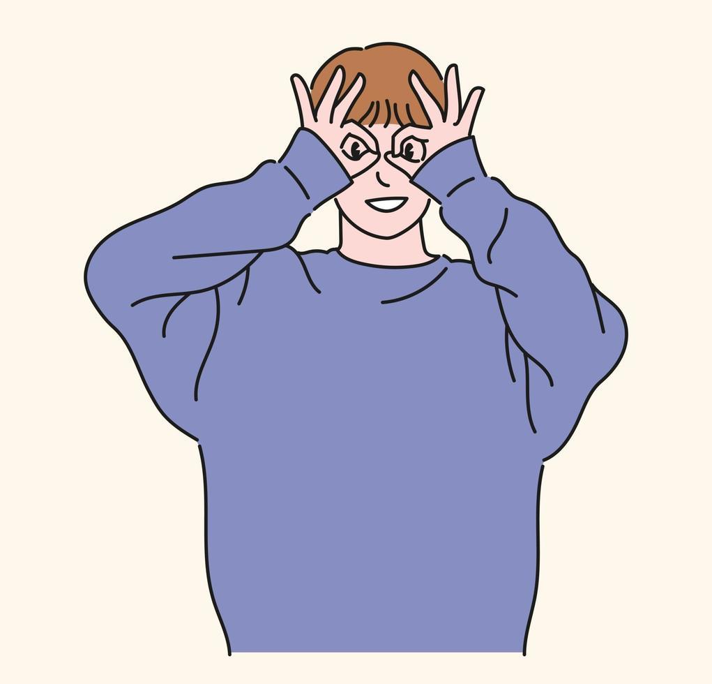 un hombre lleva gafas con el pulgar y el índice y mira al frente. ilustraciones de diseño de vectores de estilo dibujado a mano.