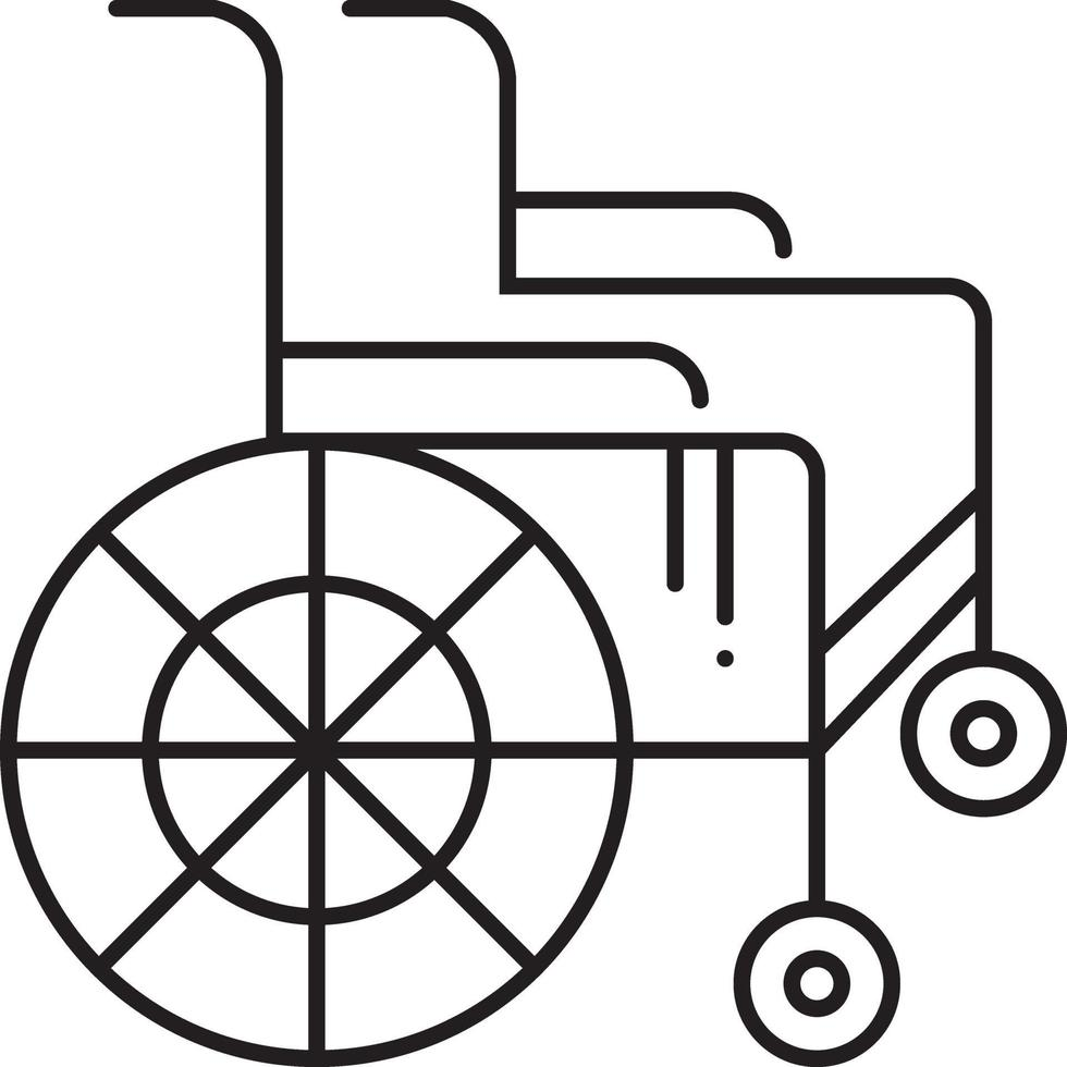 icono de línea para silla de ruedas vector