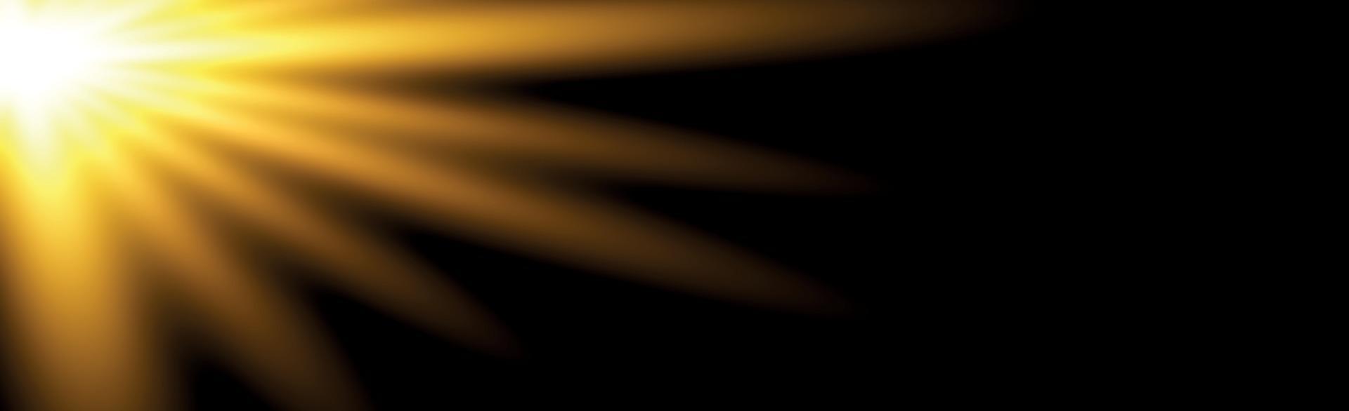 Bright sun on a black background - Illustration vector