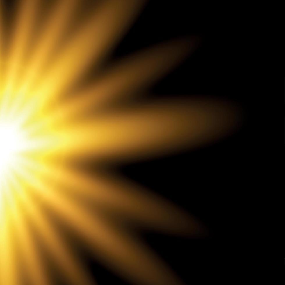 sol brillante sobre un fondo negro - ilustración vector