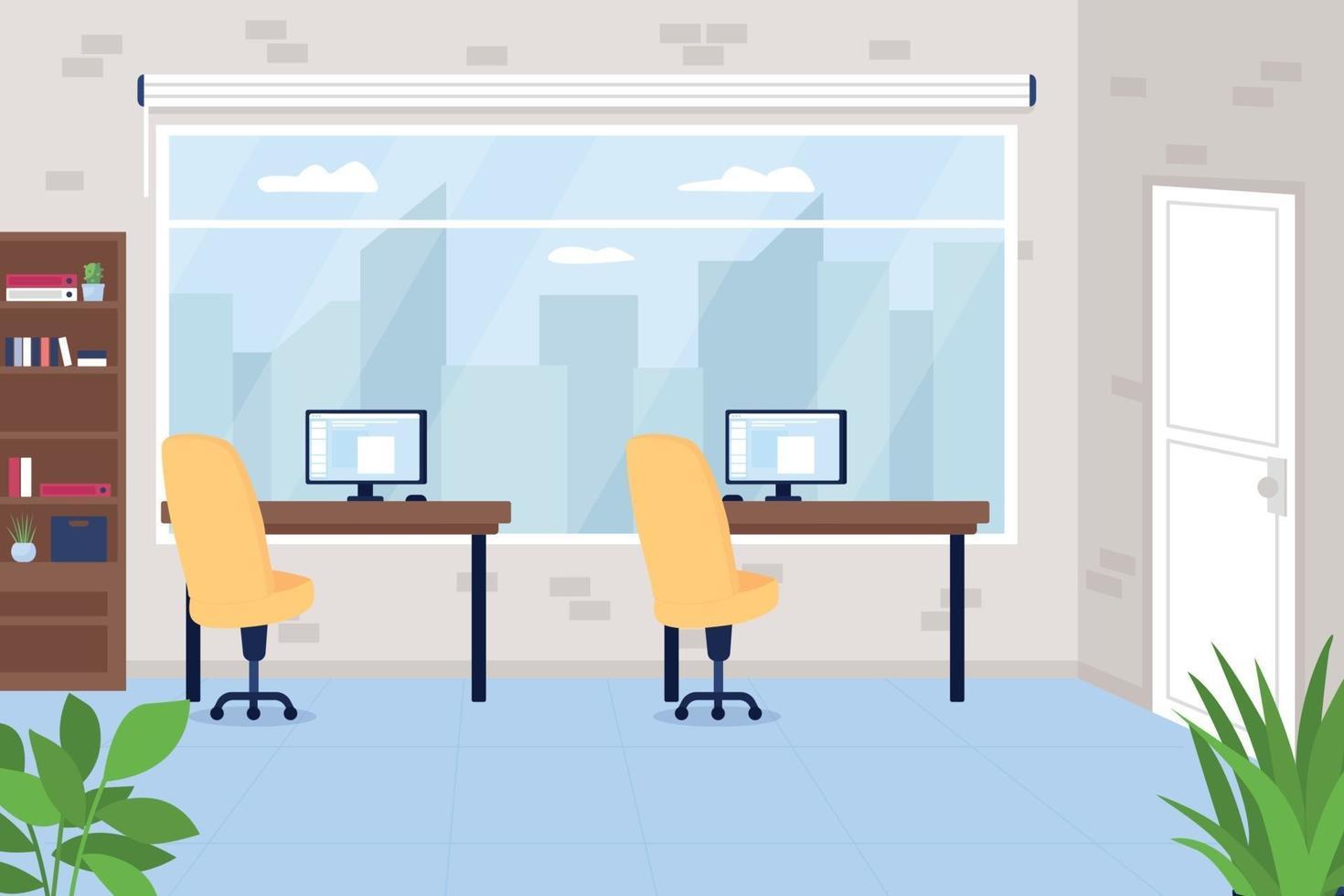 Espacio de trabajo de oficina con escritorios ilustración de vector de color plano