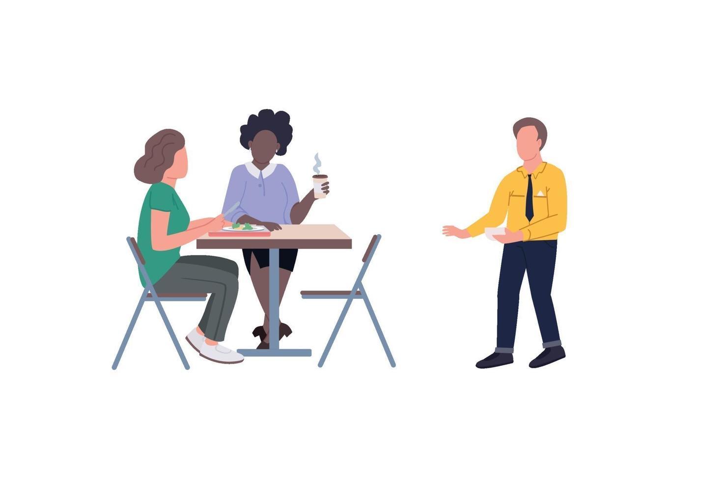 empleados en la pausa del almuerzo vector de color plano conjunto de caracteres sin rostro