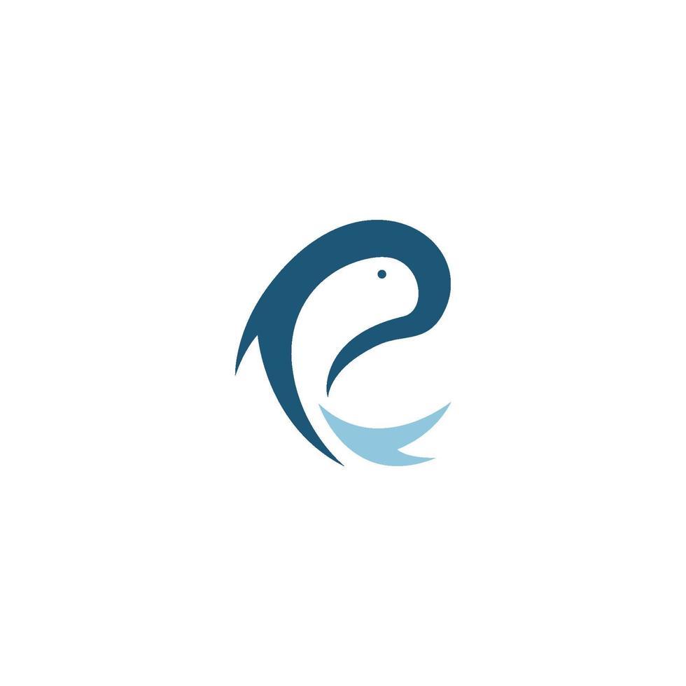 p logo y símbolos de pescado vector
