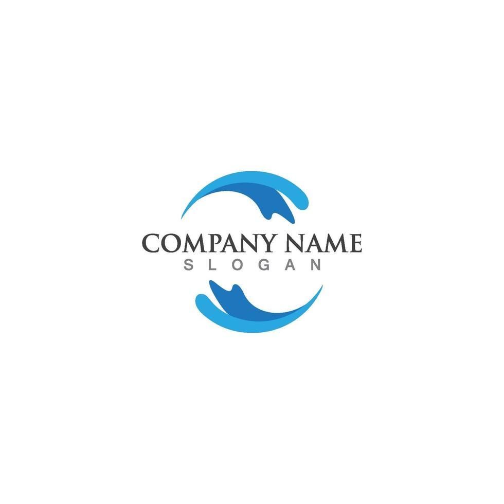 plantilla de logotipo de icono de onda de agua vector