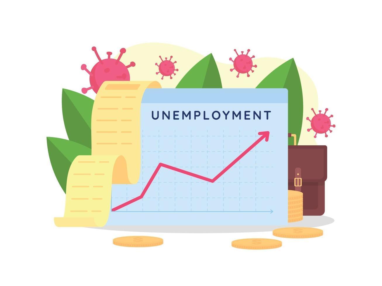 Ilustración de vector de concepto plano de gráfico de desempleo creciente