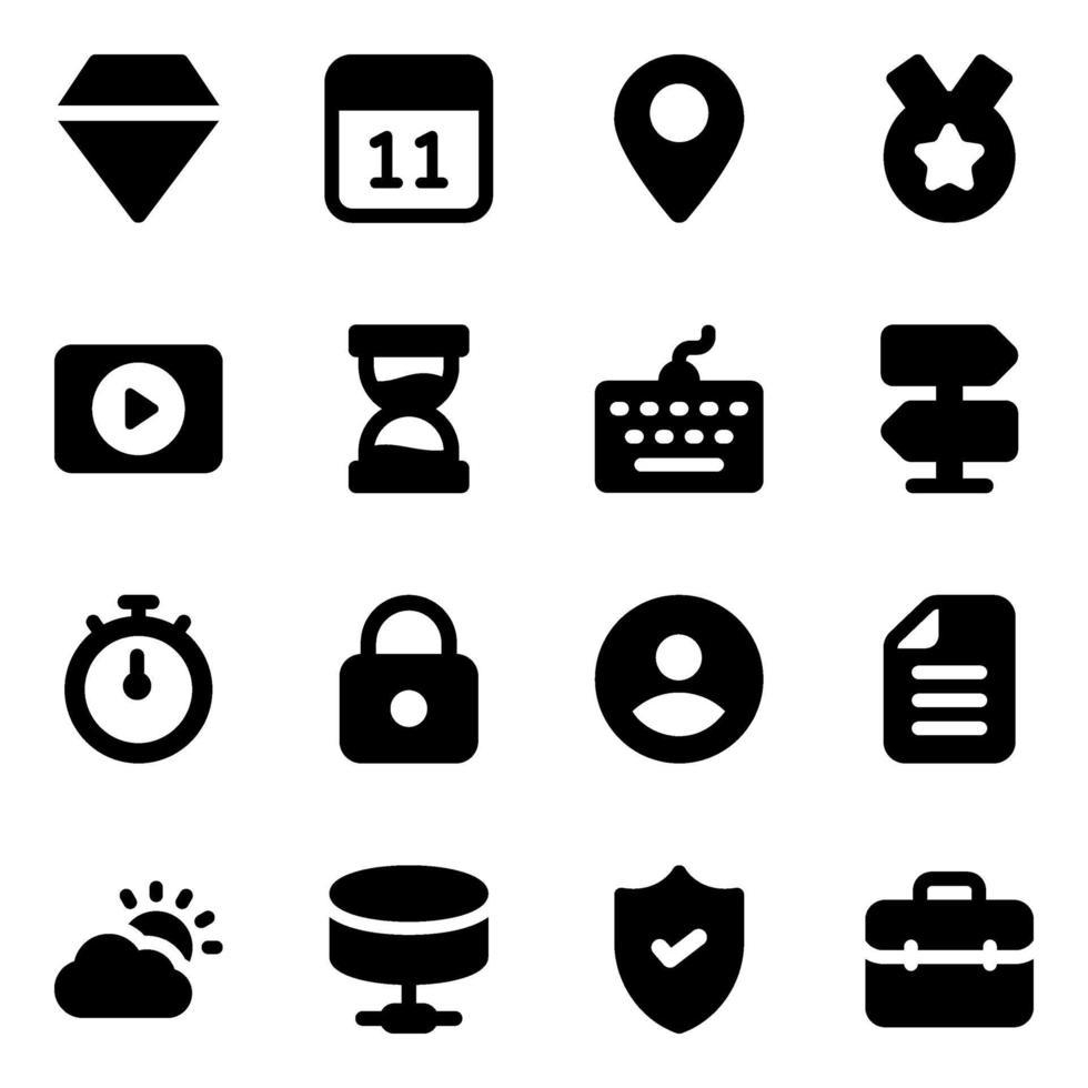 conjunto de iconos de elementos de negocios vector