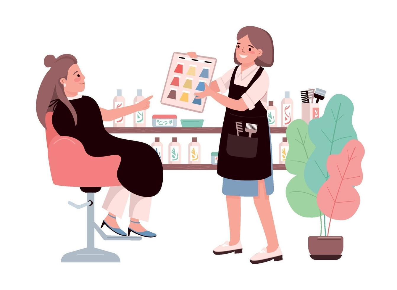 Hair coloring flat color vector characters. Young woman choosing hair dye. Getting coloration from hairdresser. Professional hairstylist. Beauty salon procedure isolated cartoon illustration