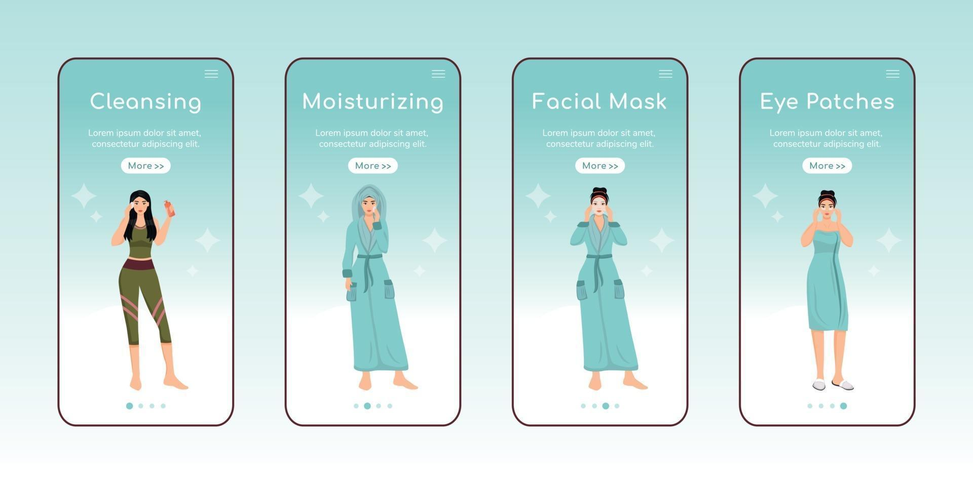 Skincare steps onboarding mobile app screen flat vector template. Face cleansing and moisturizing. Walkthrough website steps with characters. UX, UI, GUI smartphone cartoon interface, case prints set