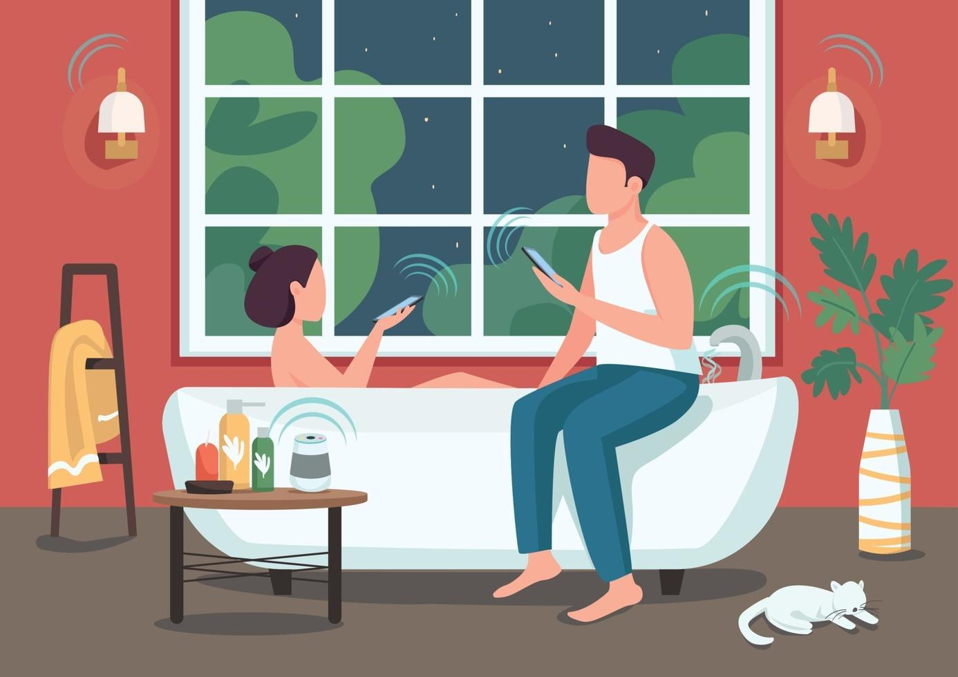 pareja en la ilustración de vector de color plano de baño inteligente. personas que controlan electrodomésticos de forma remota con teléfonos inteligentes. Hombre y mujer joven personajes de dibujos animados en 2d con baño automatizado en el fondo