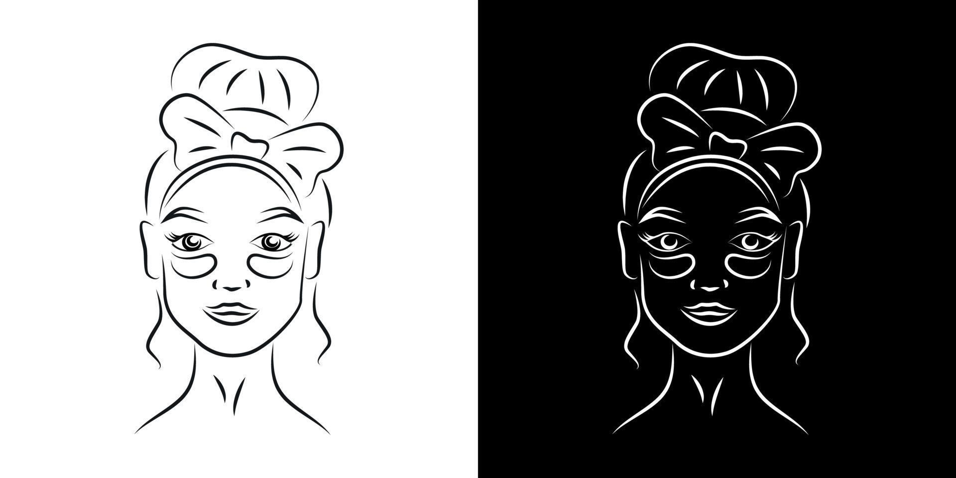 Woman with under eye patches contour portrait vector illustration. Girl face with skincare product realistic line art. Lady eyes dark circles treatment outline character on black and white backgrounds