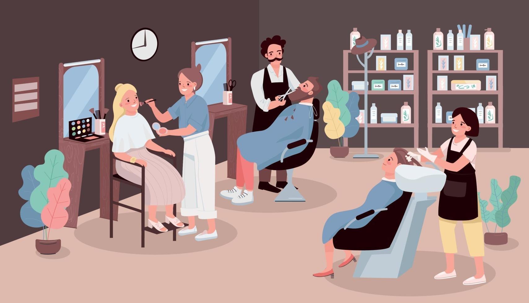 Ilustración de vector de color plano de salón de peluquería. hombre cortando barba. peluquero lavando el cabello de la mujer. artista aplica maquillaje. Estilistas personajes de dibujos animados en 2d con muebles de salón de belleza en el fondo