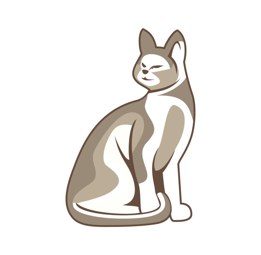 personaje de mascota sentado ilustración de diseño de gato vector