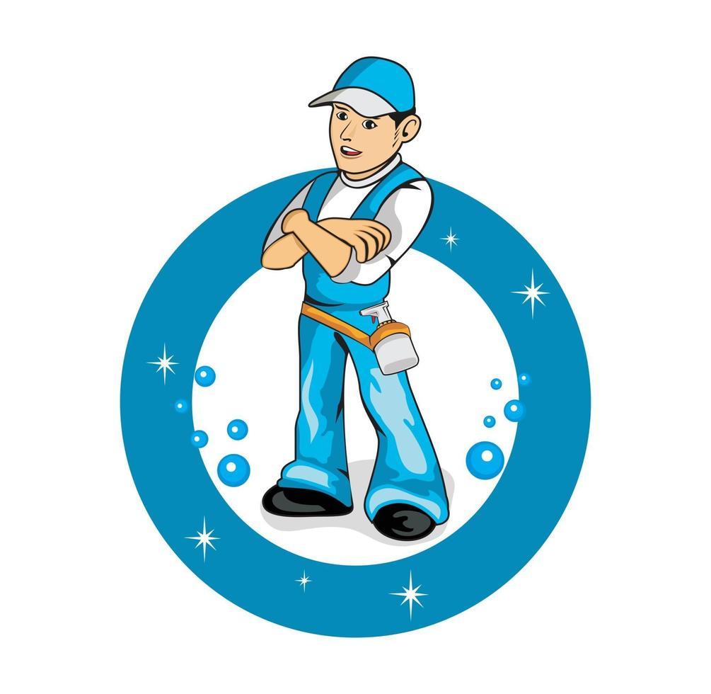 personaje de dibujos animados de ilustración de trabajador de servicio de limpieza vector