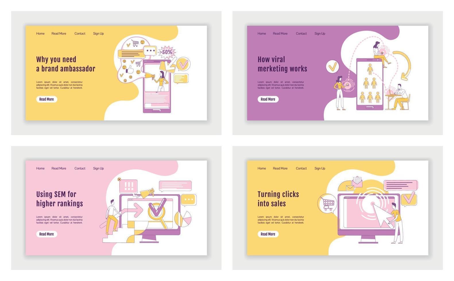 Conjunto de plantillas vectoriales de silueta plana de página de destino de marketing en línea. diseño de página de inicio de negocios publicitarios. e interfaz de sitio web de una página de marketing con personaje de contorno de dibujos animados. banner web, página web vector