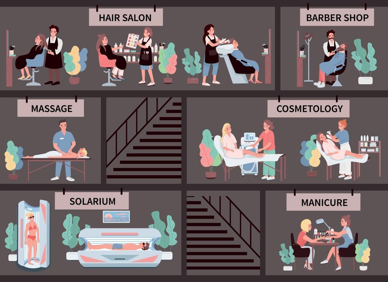 Conjunto de caracteres de vector de color plano de salón de belleza. tratamiento capilar. barbería. manicura, masajes. bronceado solarium. Centro de cosmetología procedimiento ilustraciones de dibujos animados aislados sobre fondo gris