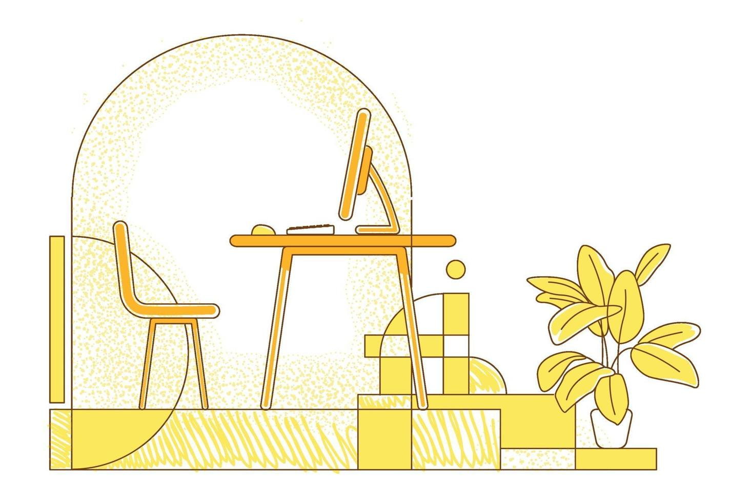 Freelancer workplace flat silhouette vector illustration. Remote workspace, home office contour composition on yellow background. Empty room with desktop computer simple style drawing