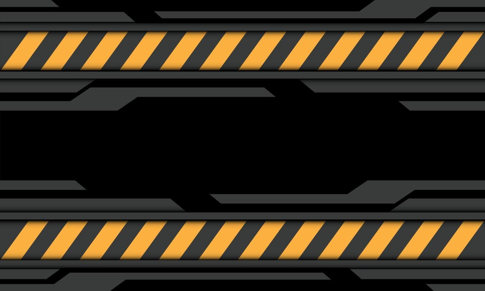 Resumen gris negro cyber línea amarilla precaución símbolo diseño moderno tecnología futurista fondo vector ilustración.