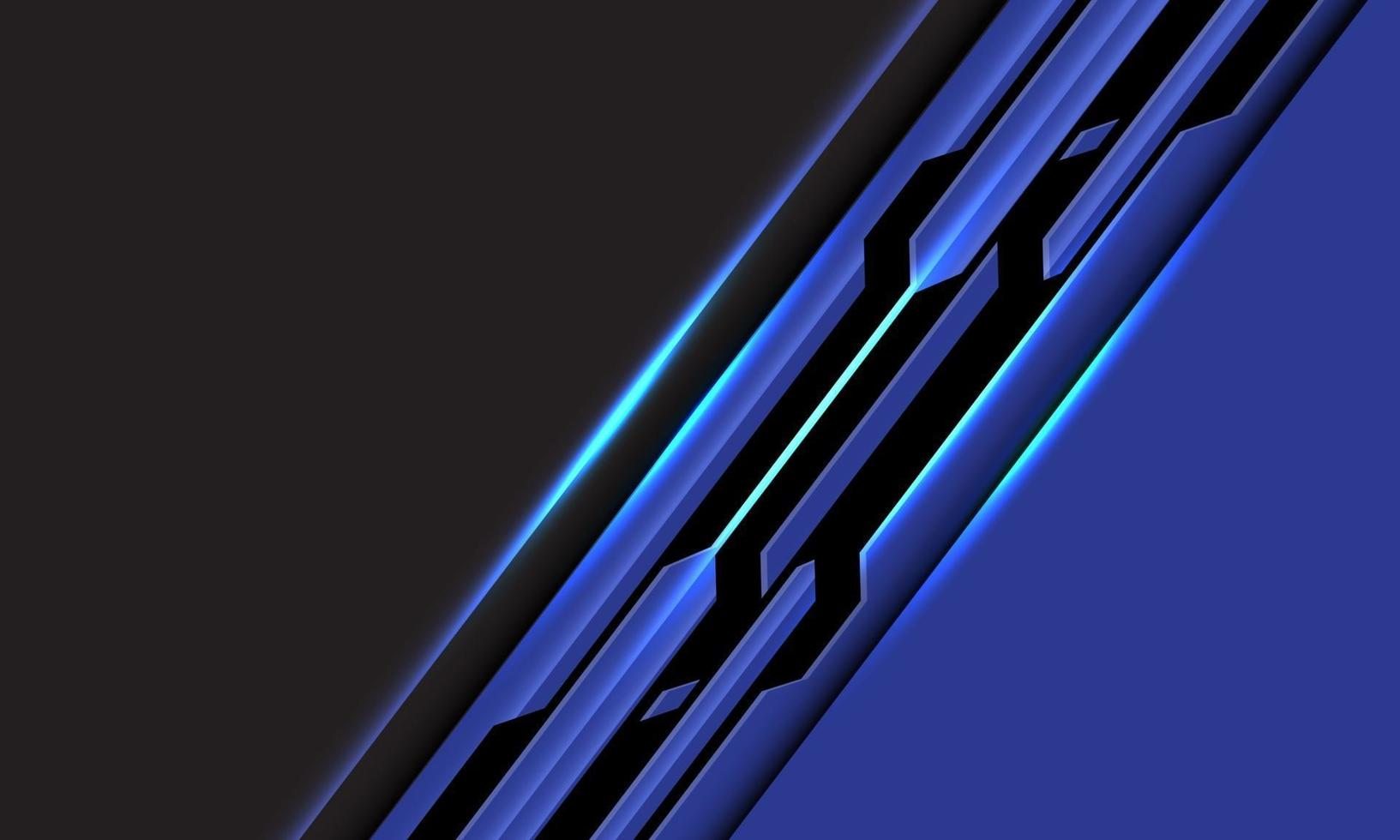 Abstract blue black line circuit cyber slash on grey blank space design modern futuristic technology background vector illustration.