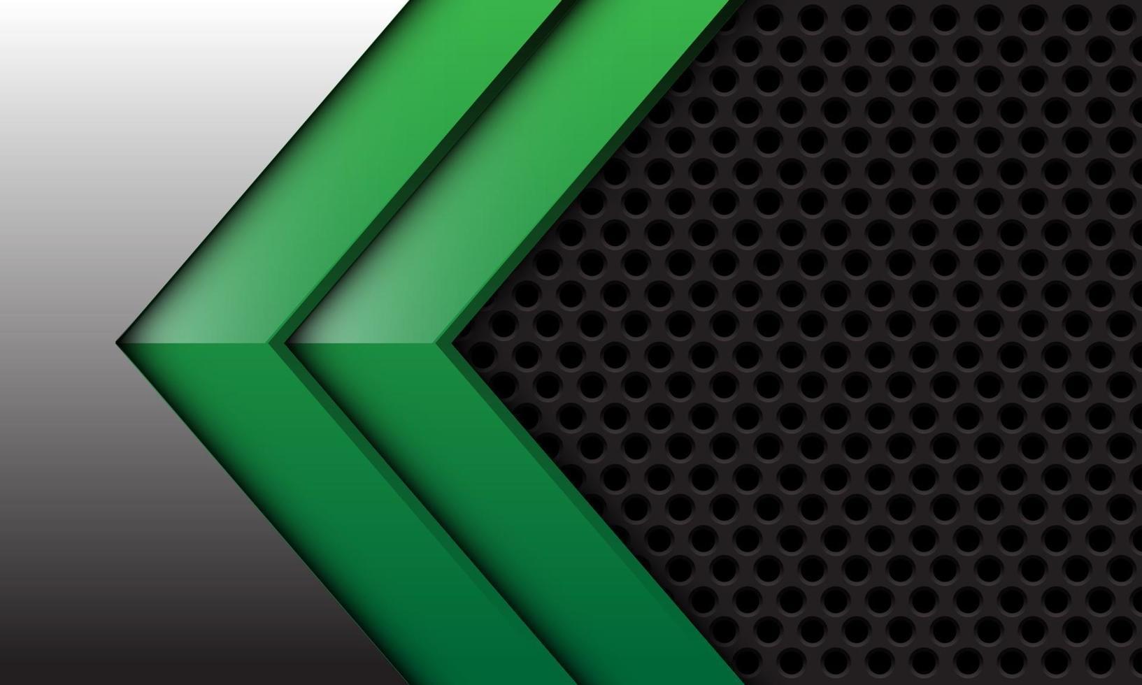Flecha verde gemela abstracta en plata con diseño de malla de círculo gris oscuro ilustración de vector de fondo futurista moderno.