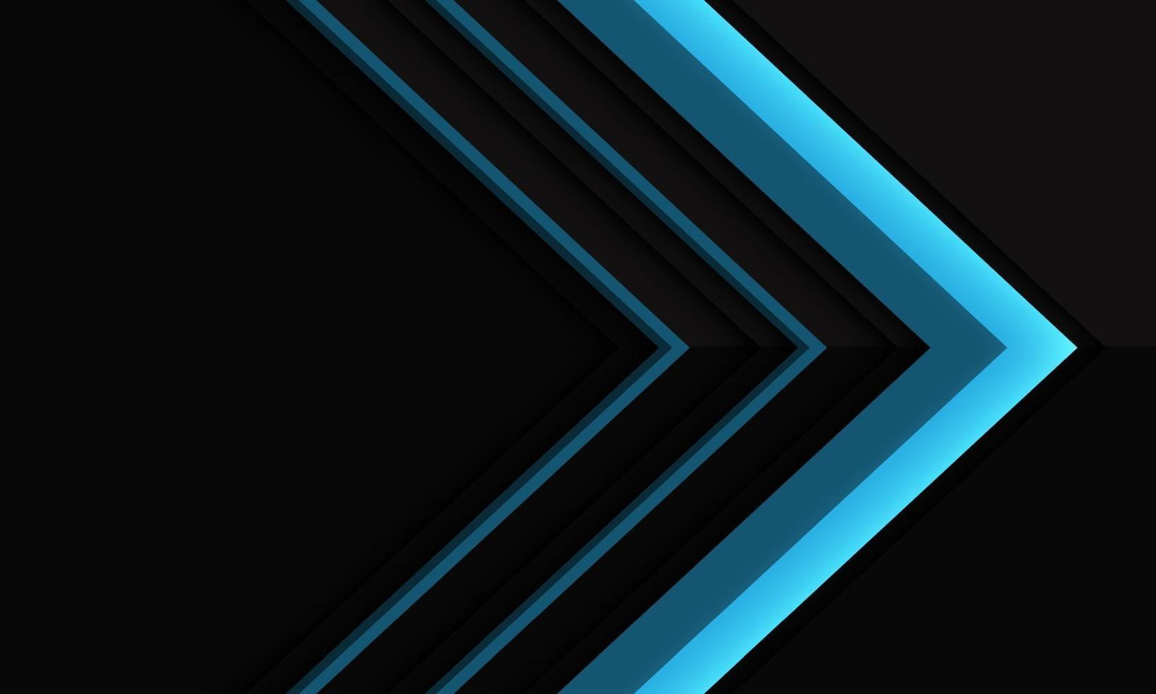 Dirección de flecha azul abstracta en sombra metálica negra con diseño de espacio en blanco ilustración de vector de fondo futurista moderno.