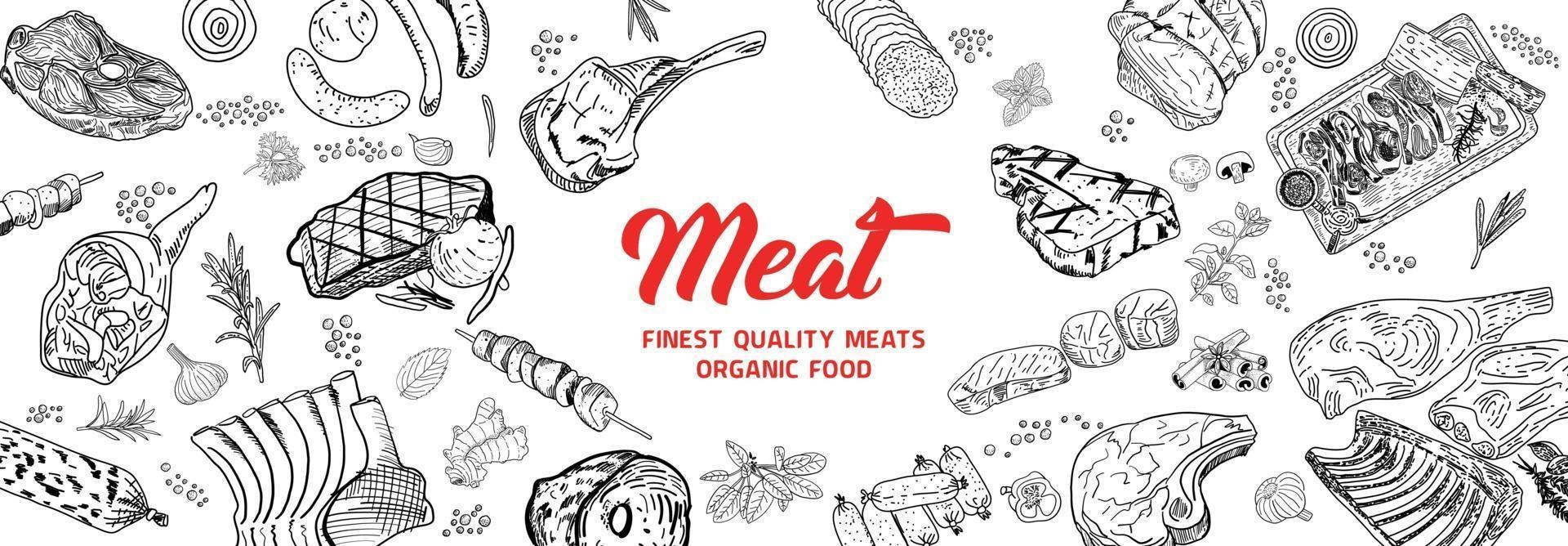 Meat products. Top view frame. Hand drawn illustration. Pieces of meat design template. Engraved design. Great for package design. Vector illustration.