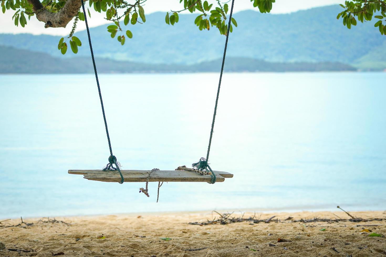 Closeup wooden swing hanging from the tree with old rope and blurred island in background photo