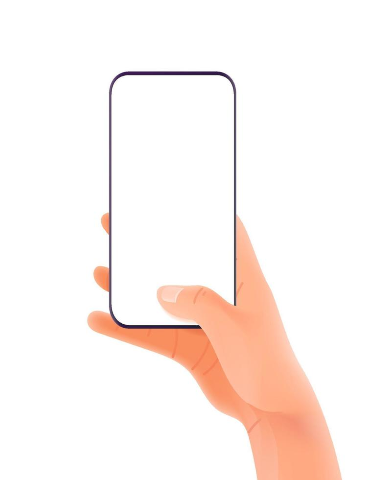 Smartphone in hand. Finger pressing the button. Vector mockup isolated on white background