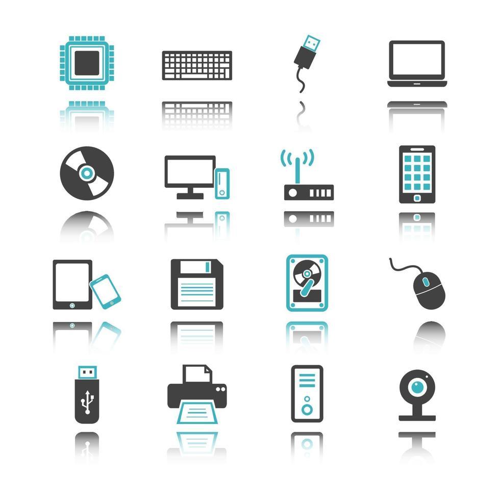 iconos de computadora y dispositivo con reflejo vector