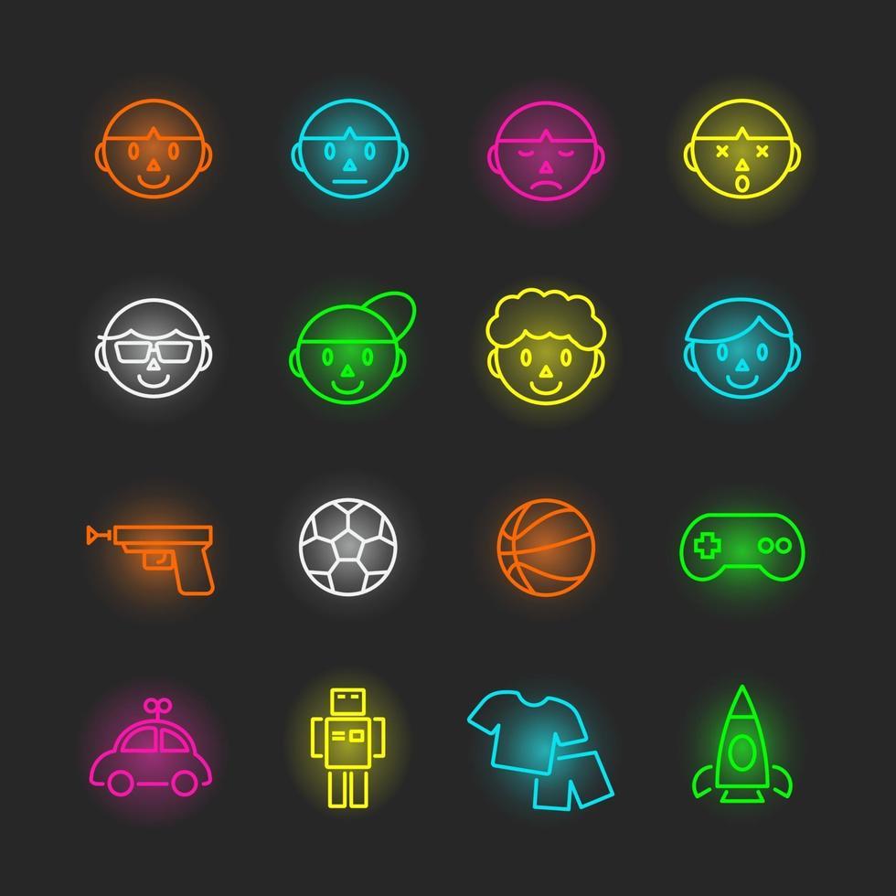 boy neon icon set vector