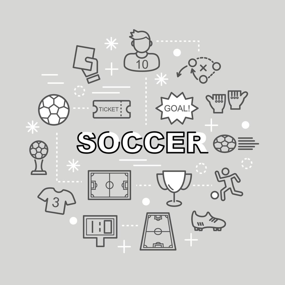 soccer minimal outline icons vector