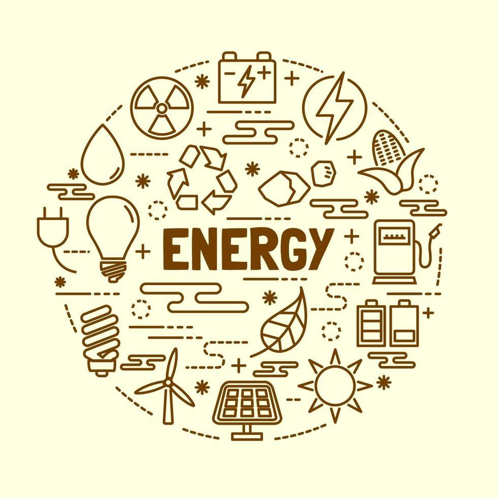 energy minimal thin line icons set vector