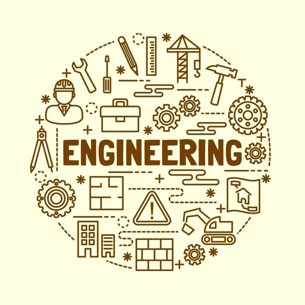engineering minimal thin line icons set vector