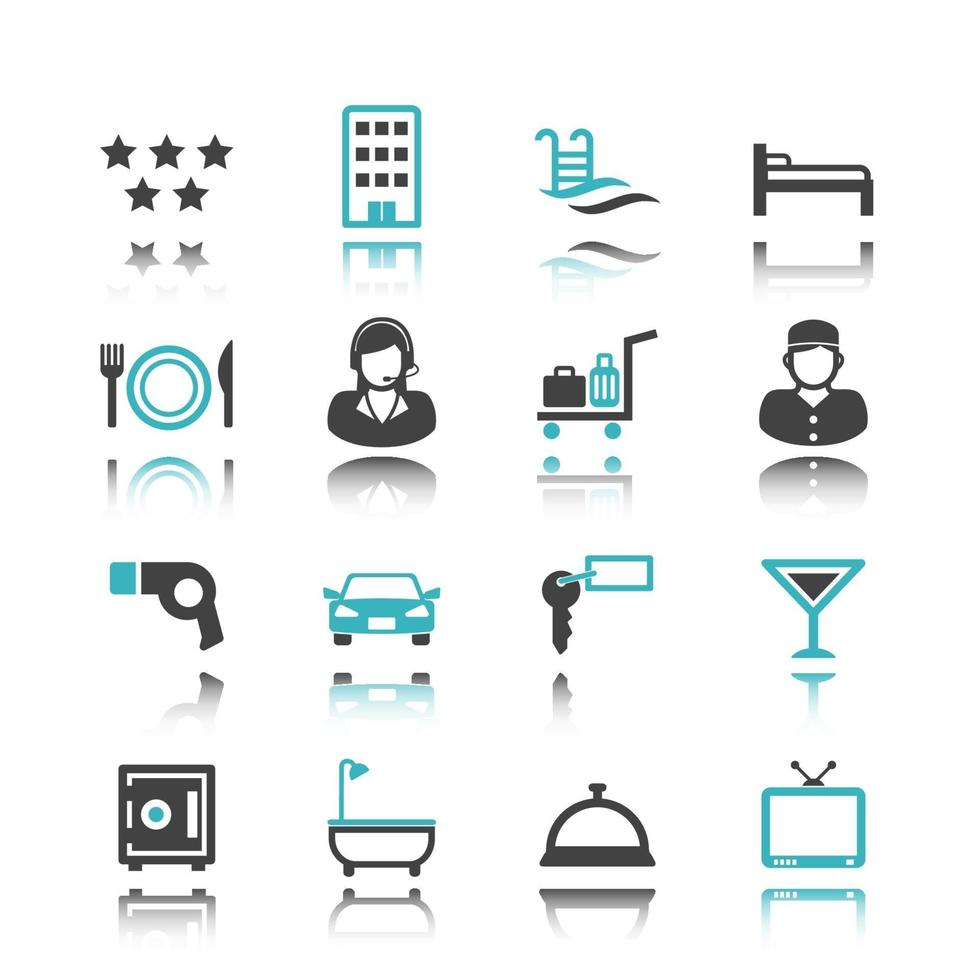 hotel icons with reflection vector