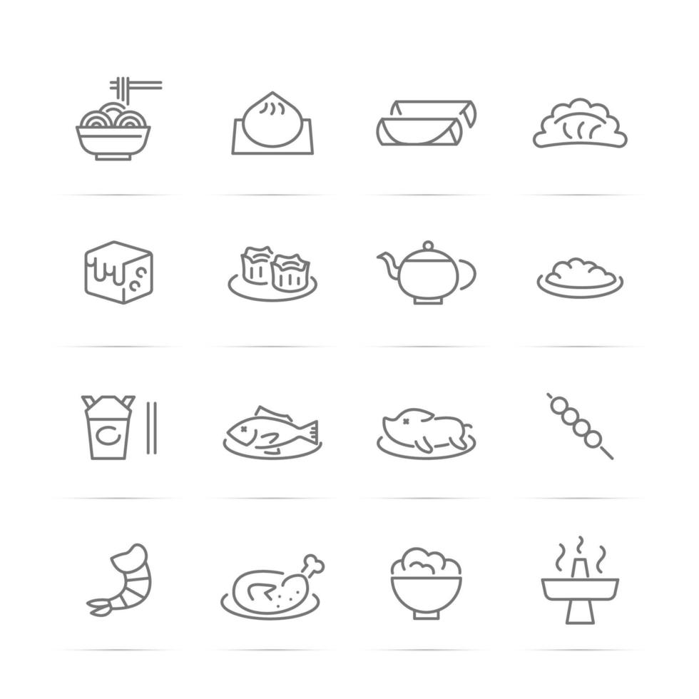 chinese food vector line icons