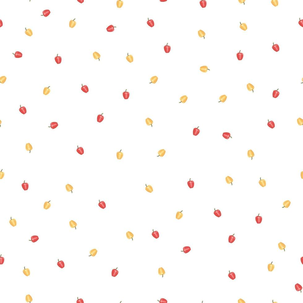 Seamless pattern with colorful vegetables. Hand drawn vector illustration design with red and bell peppers. Natural organic food. Wallpaper and fabric design.