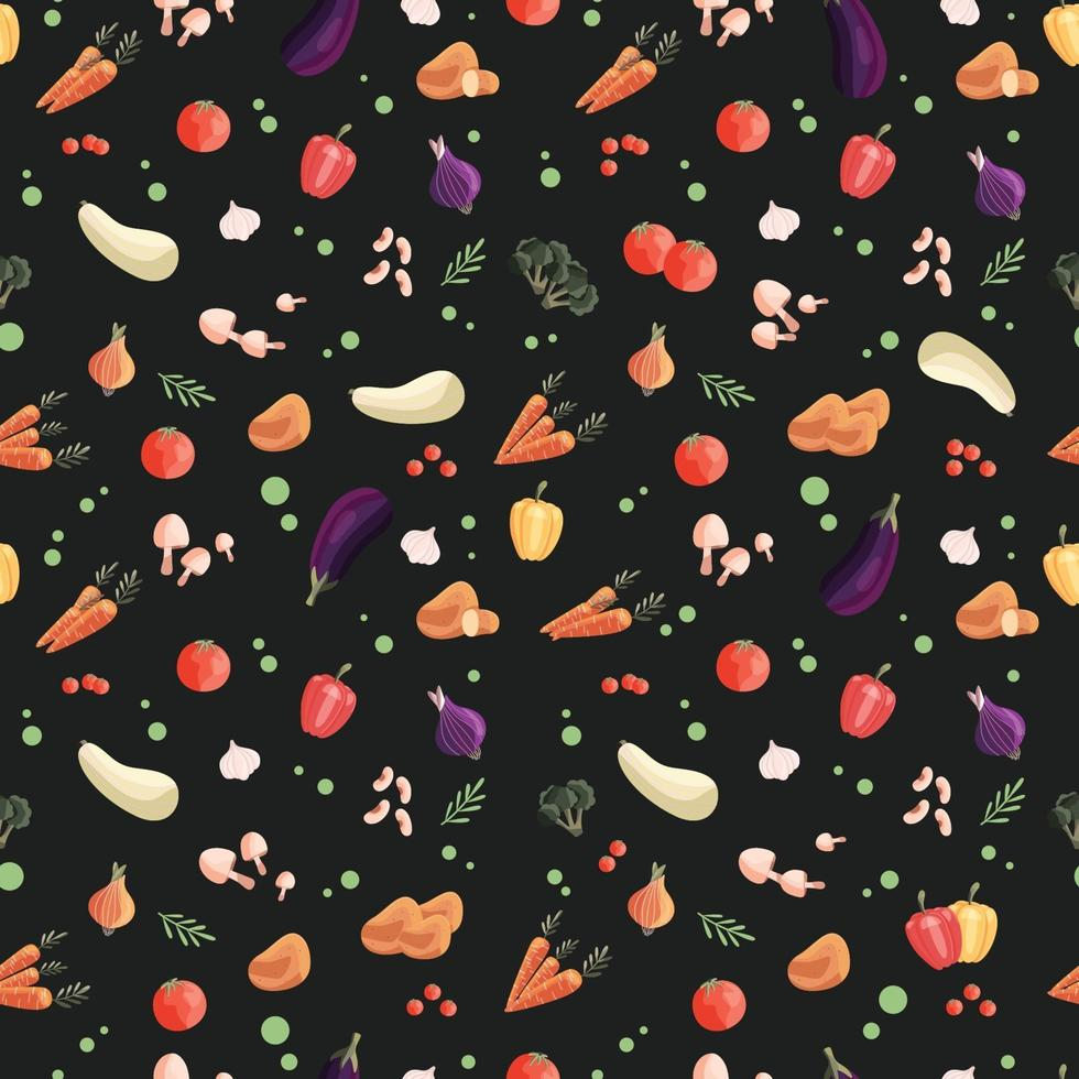 Seamless pattern with colorful vegetables on dark green background. Hand drawn vector illustration design. Natural organic food. Wallpaper and fabric design.