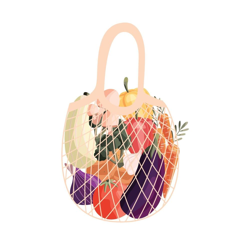 Reusable shopping bag full of fresh vegetables. Grocery and farmers market purchase with organic natural food. Vector illustration.