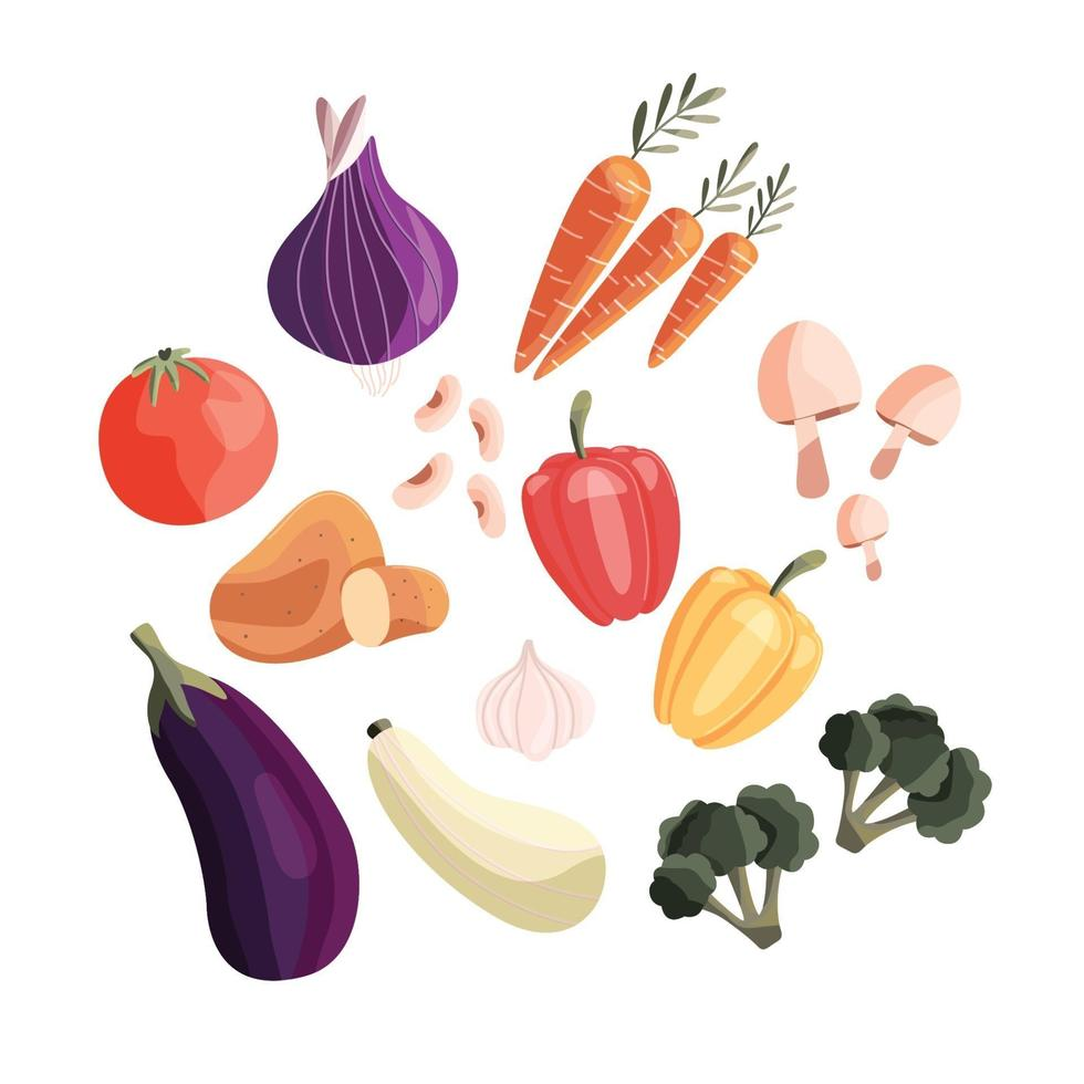 Collection of colorful fresh vegetables isolated on white background. Healthy organic produce. Vegan and vegetarian food. Hand drawn vector illustration.