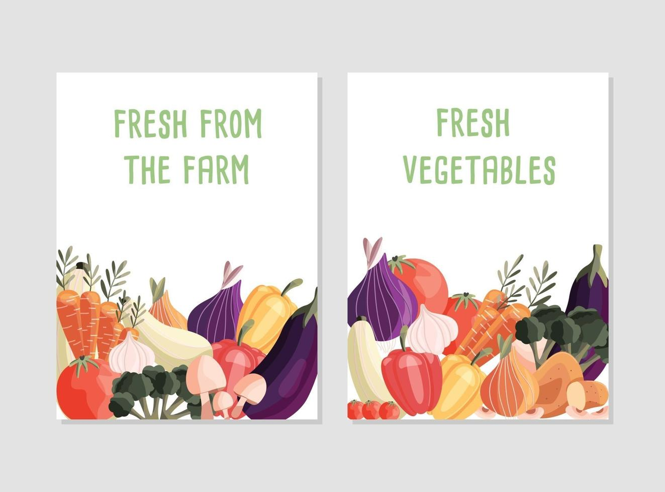 Two vertical poster templates with fresh organic vegetables and place for text. Colorful hand drawn natural food. Vector illustration.