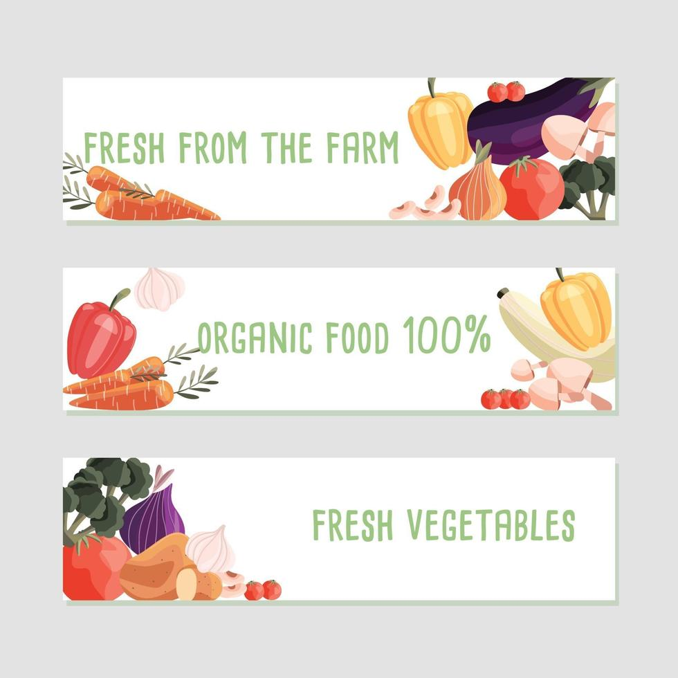 Three horizontal banner templates with fresh organic vegetables and place for text. Colorful hand drawn natural food on white background. Vector illustration.