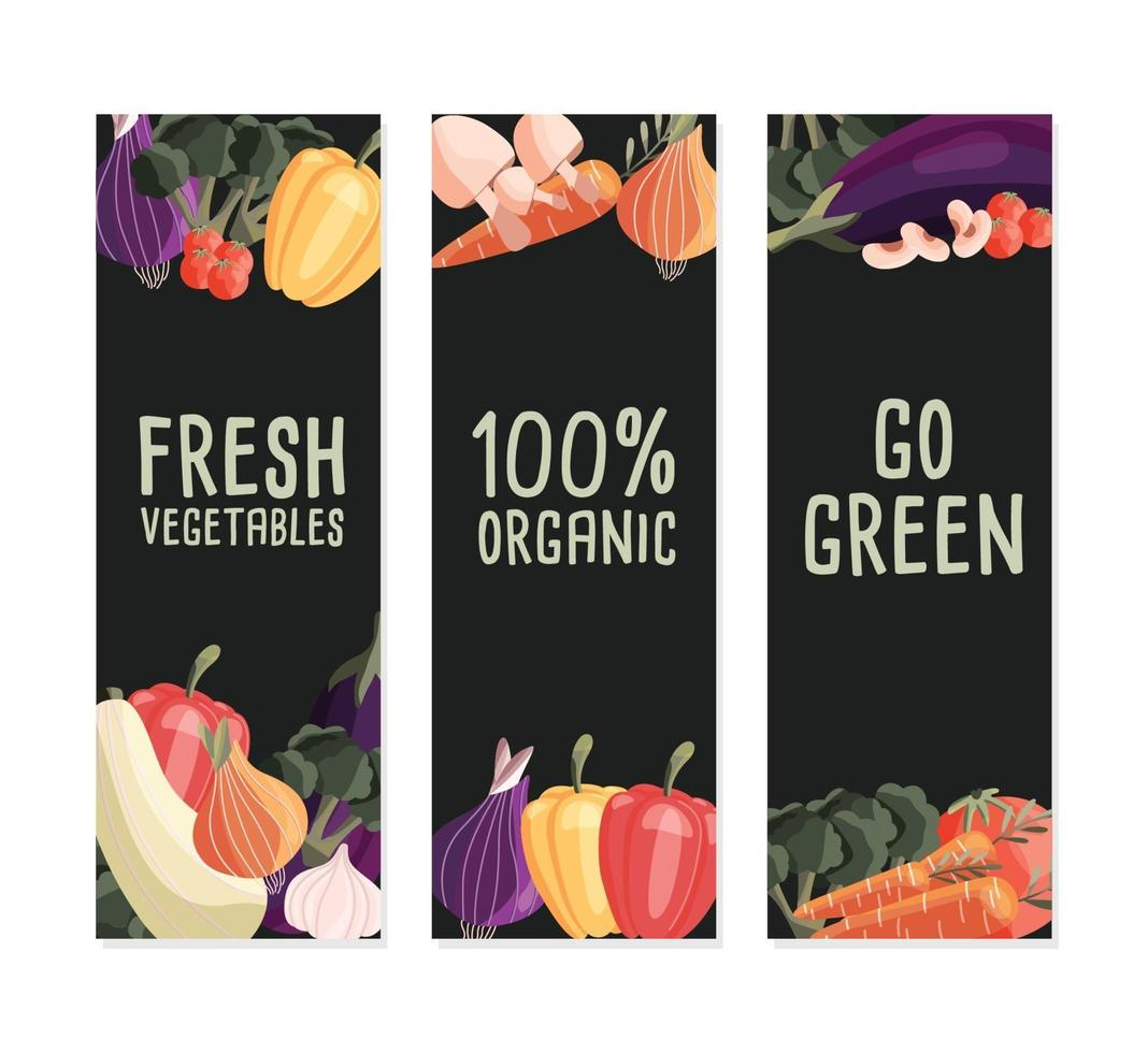 Three vertical banner templates with fresh organic vegetables and place for text. Colorful hand drawn natural food on dark green background. Vector illustration.