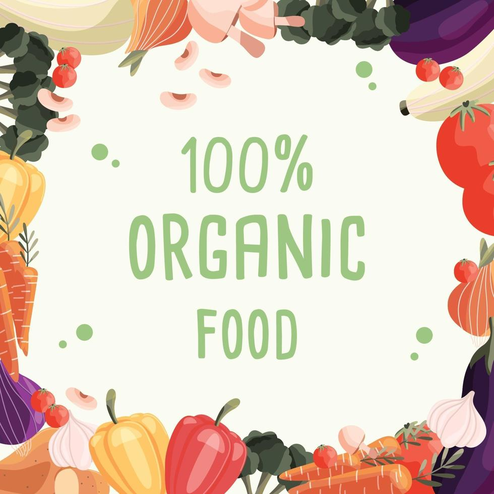 Organic food square poster template with collection of fresh organic vegetables. Colorful hand drawn illustration on light green background. Vegetarian and vegan food. vector
