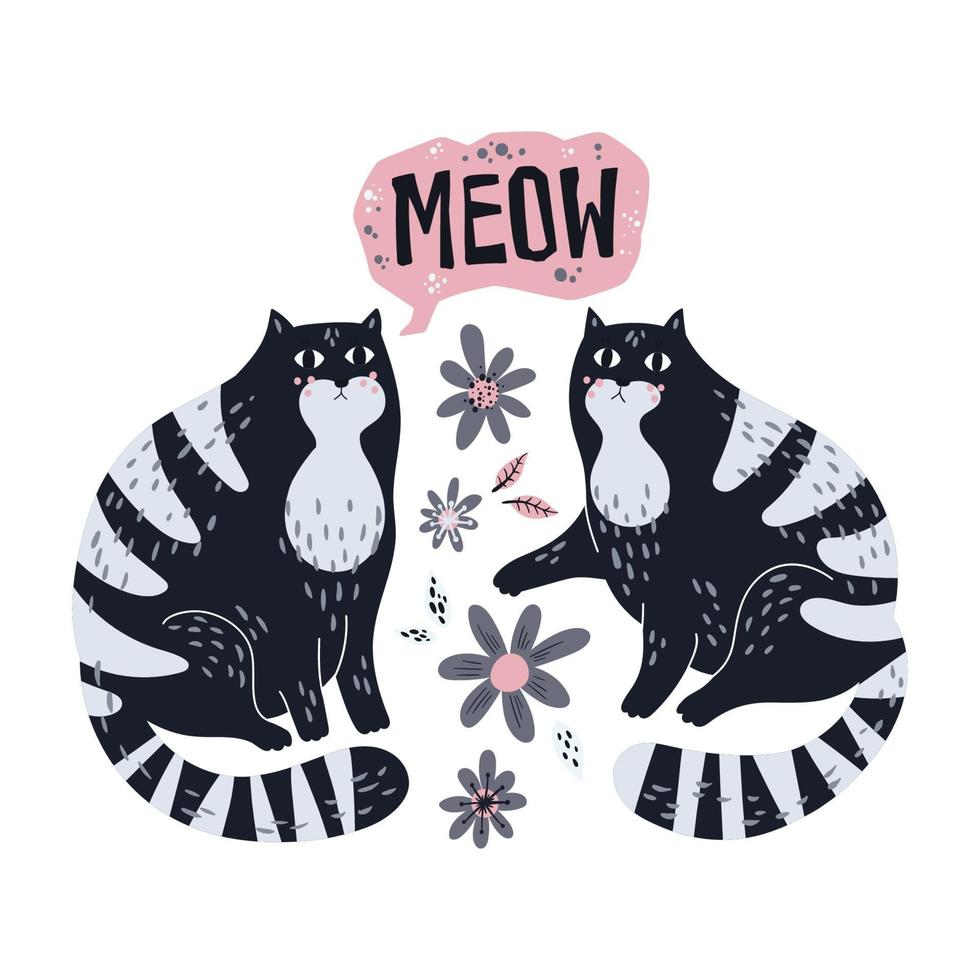 Vector flat hand drawn illustrations. Cute cats with flowers.