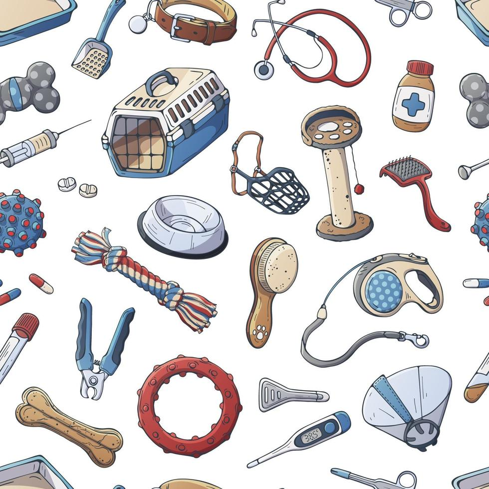 Veterinary accessories for care cats and dogs. Vector pattern.