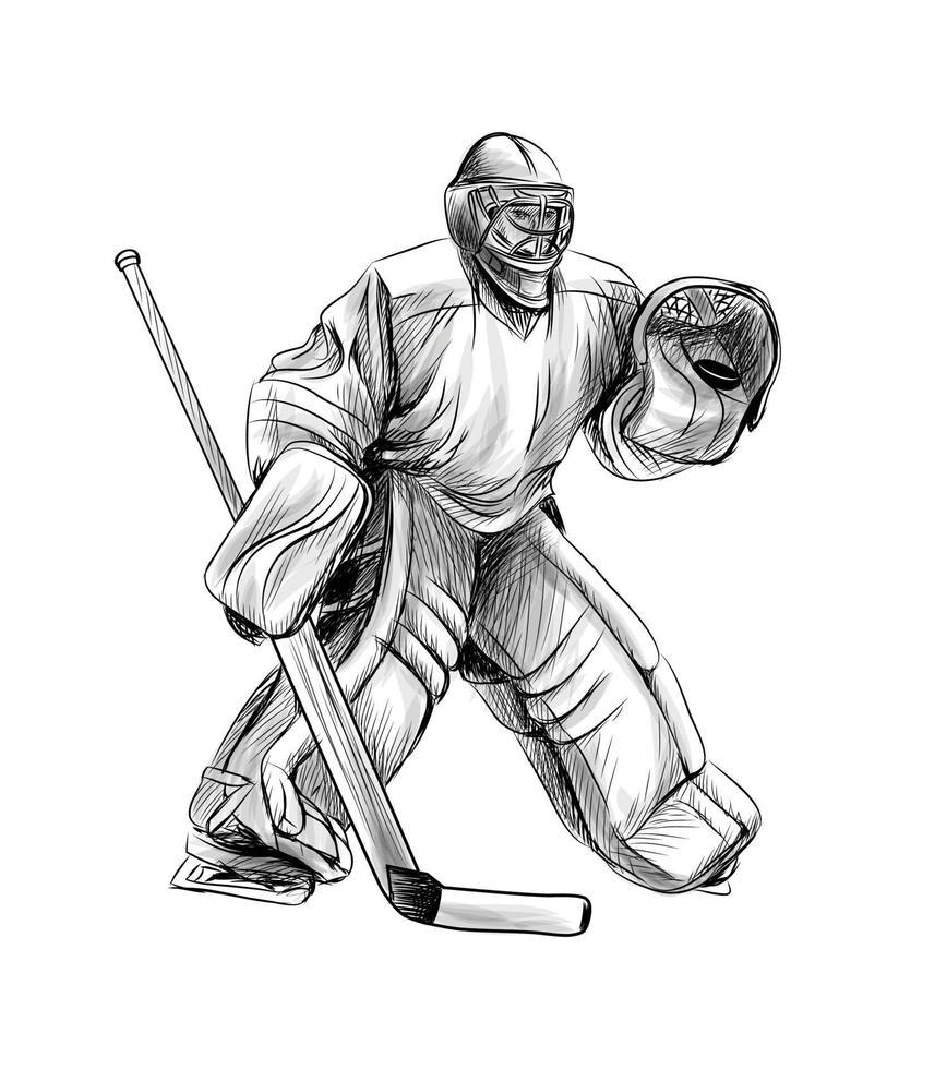 Hockey goalie player. Hand drawn sketch. Winter sport. Vector illustration of paints