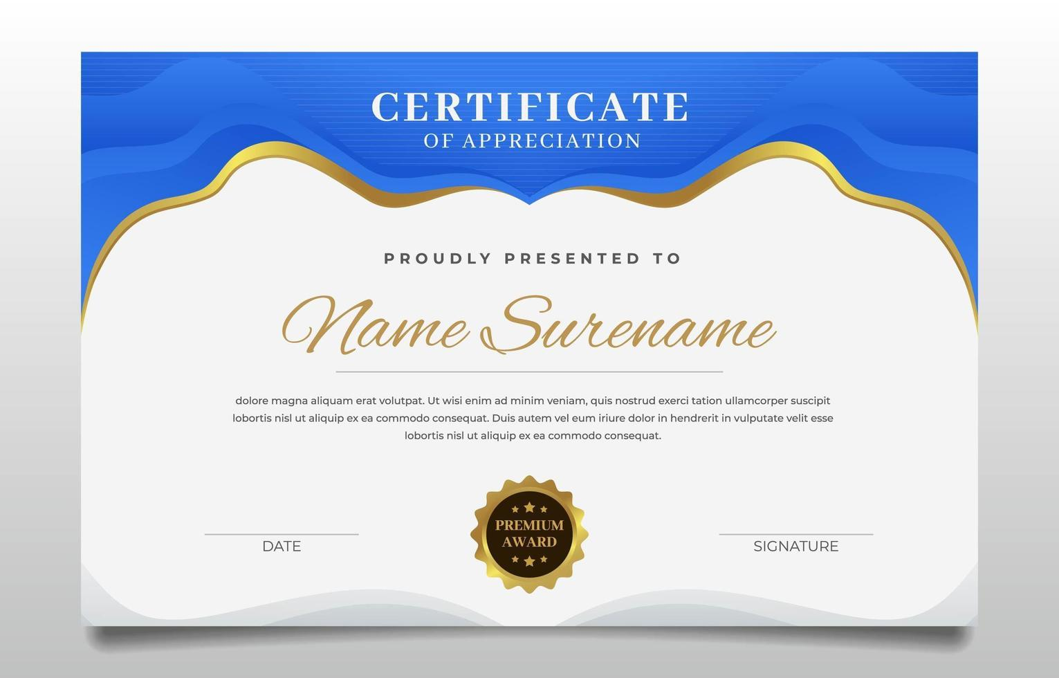 Graduation Certificate A Combination of Blue and Gold vector