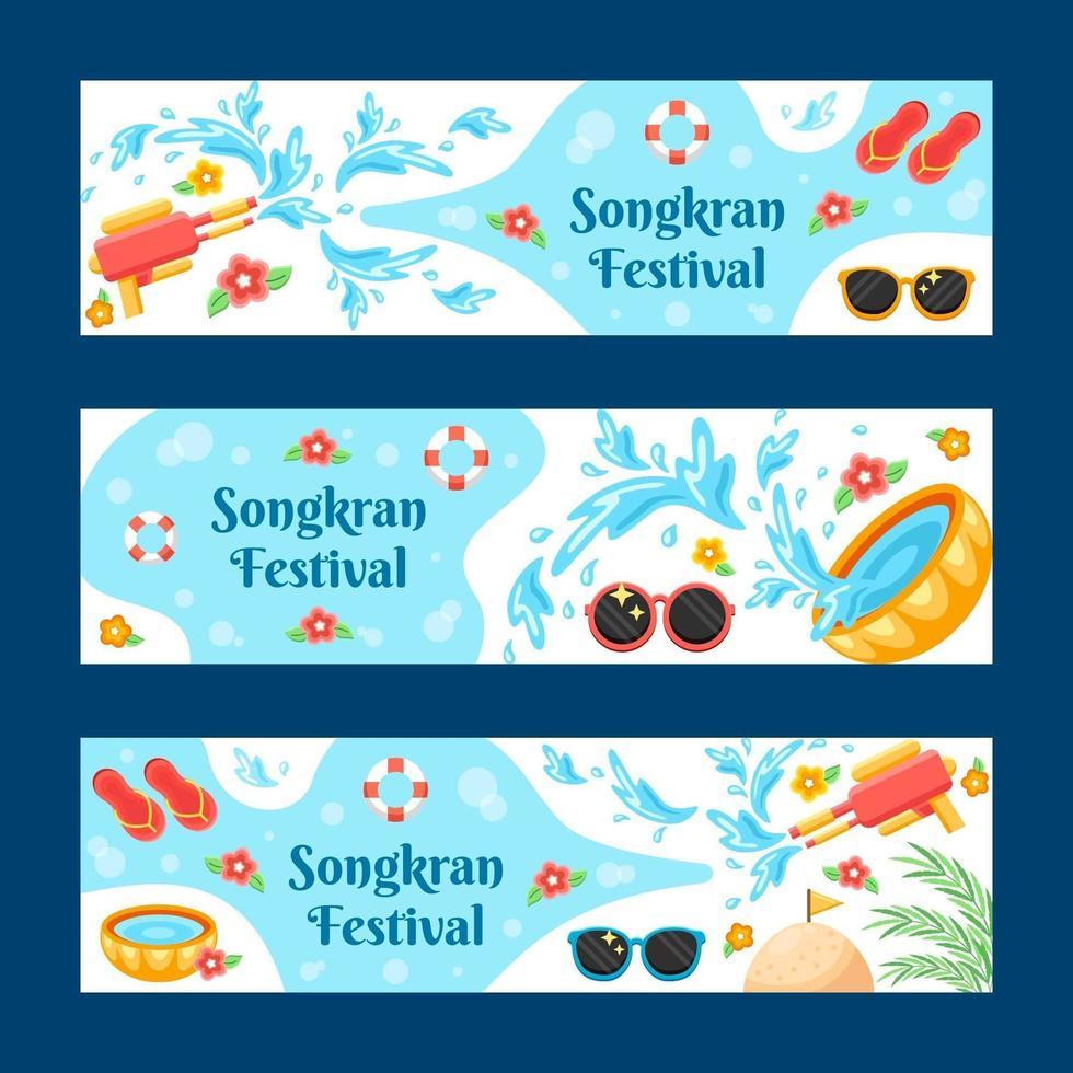 Colourful Songkran Festival Banner Set vector