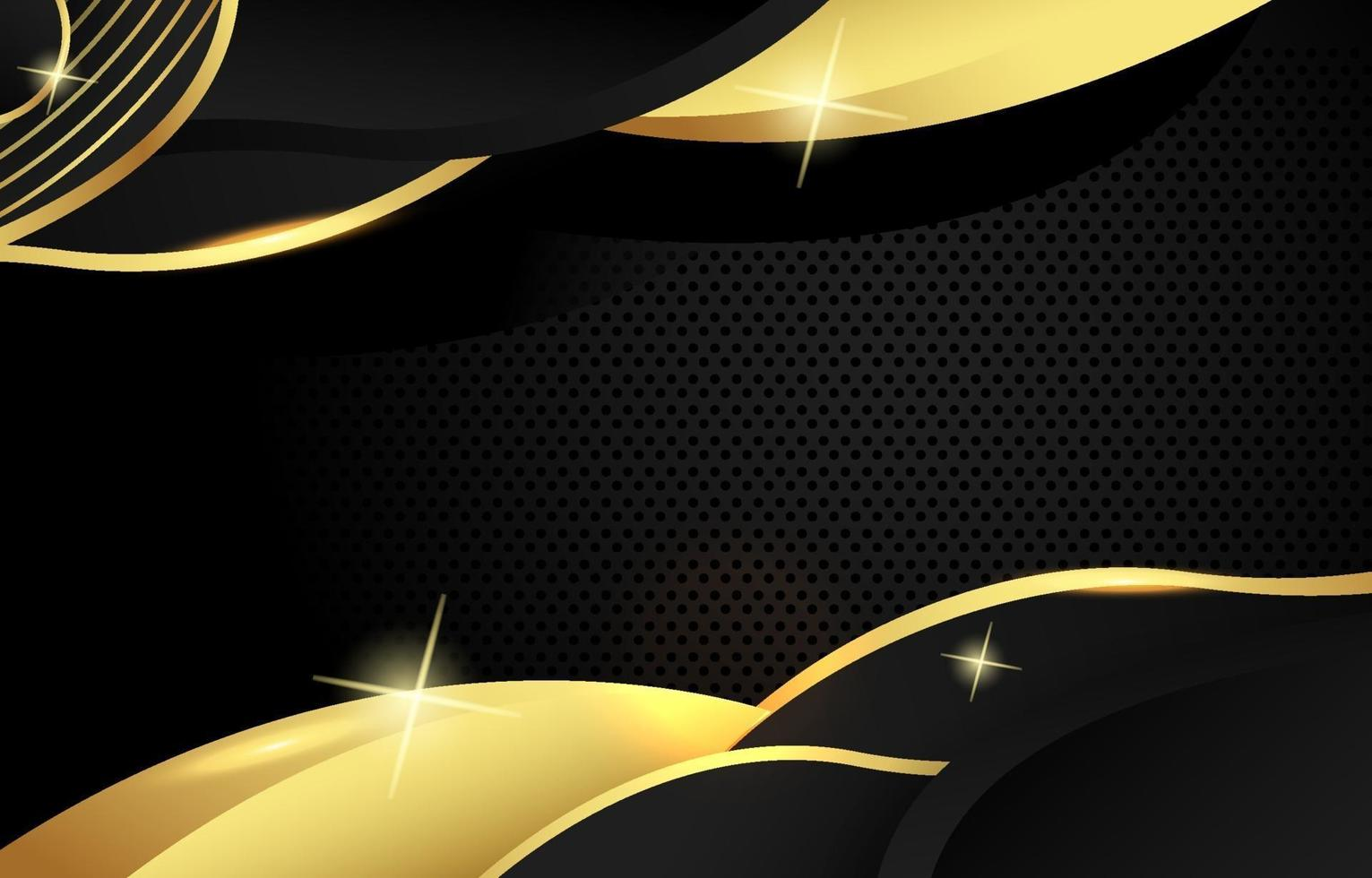 Black and Gold Wave Background vector