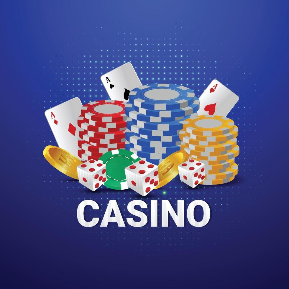 Casino online gambling game with roulette, casino chips, and gold coin  2239139 Vector Art at Vecteezy